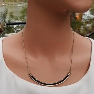 Vintage Black Leather and Gold Chain Necklace
